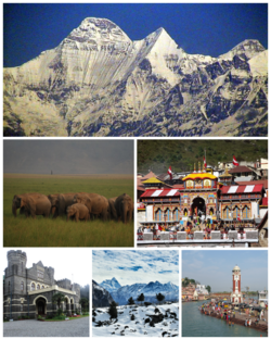 Clockwise from top View of Nanda Devi from Kausani, Badrinath Temple at Badrinath, Har Ki Pauri at Haridwar, GMVNL Ski Resort at Auli, Raj Bhavan at Nainital and A herd of Elephants at Jim Corbett National Park.