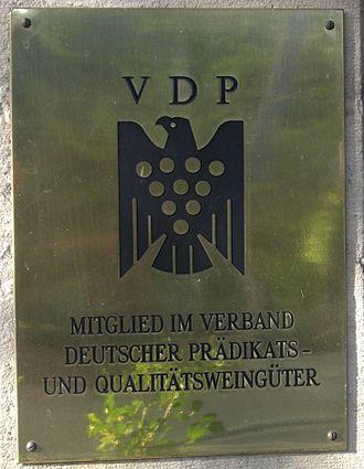 Verband Deutscher Prädikats- und Qualitätsweingüter - A sign showing that a winery is a member of VDP