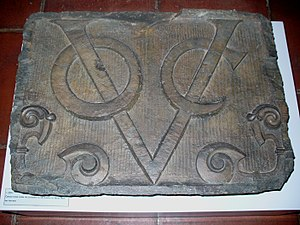 Monogram - Monogram of the Dutch East India Company (Vereenigde Oost-Indische Compagnie), formerly above the entrance to the Castle of Good Hope in South Africa