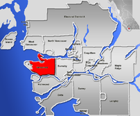 Location of Vancouver within the Metro Vancouv...