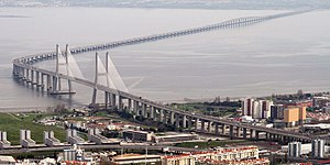 Vasco da Gama Bridge - An aerial view of the bridge
