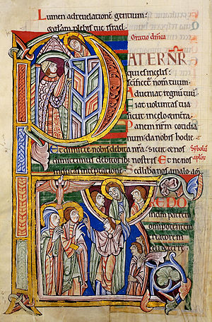 """St. Albans Psalter - Initial at the start of the """"Our Father"""""""