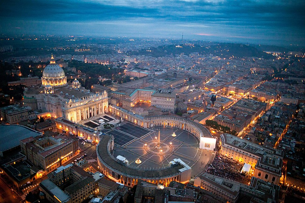 Vatican City and St. Peter Square evening twilight aerial view