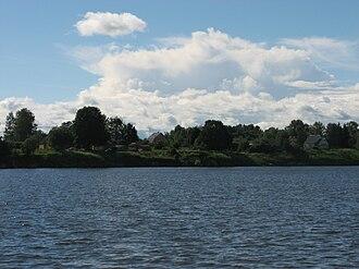 Sychyovsky District - View of the village of Khlepen over the Vazuza River in Sychyovsky District