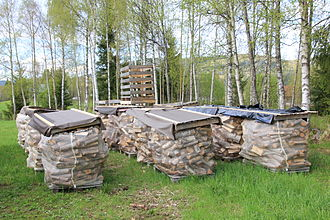 Wood drying - Small firewood logs drying on-site