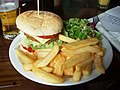 Veggie burger and chips - Salmon and Compass, Pentonville, London.jpg