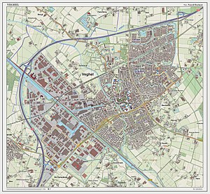 Veghel - Topographic map of Veghel (town), as of March 2014