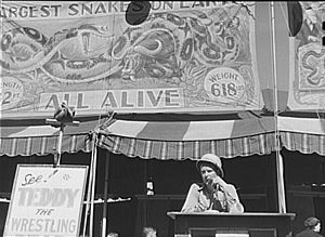 Barker (occupation) - Barker at the Vermont State Fair, 1941