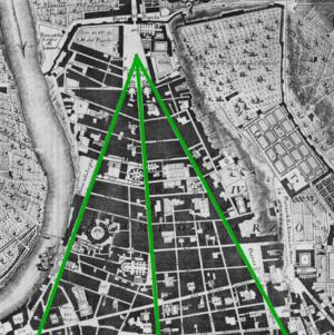 Tridente, Rome - The Tridente inside Campus Martius