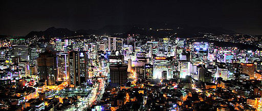 View from N Seoul Tower at night