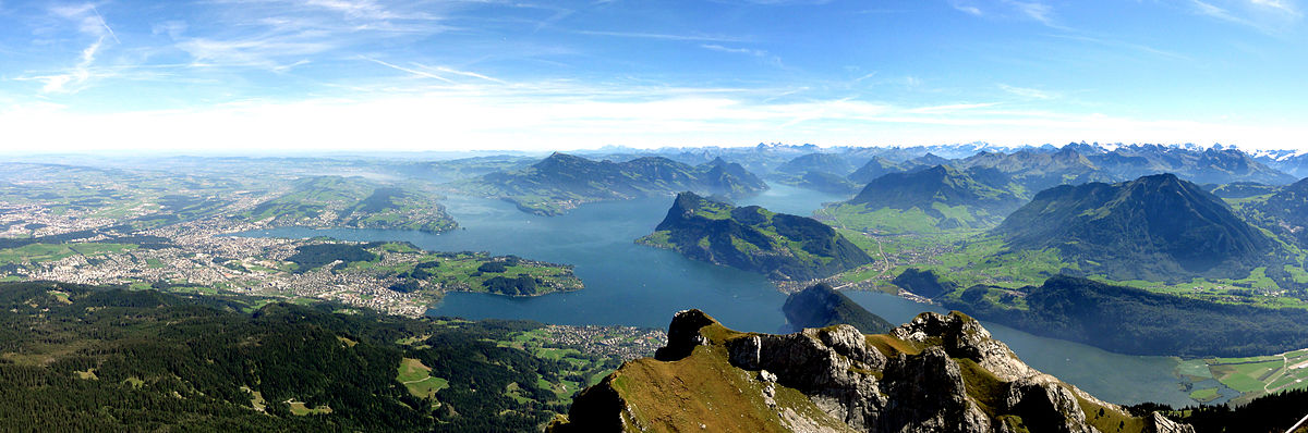 View on Luzern and Lake Lucerne from the top of Pilatus mountain