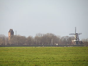 Garnwerd - The church and windmill of Garnwerd