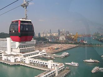 Aerial lift - Singapore Cable Car over sea