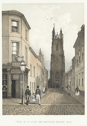 St John the Baptist Church, Cardiff - View down Church Street towards St John's Church in 1852