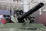 Vikhr reconnaissance-assault unmanned ground vehicle with ABM-BSM 30 weapon turret on BMP-3 chassis at Military-technical forum ARMY-2016 03.jpg