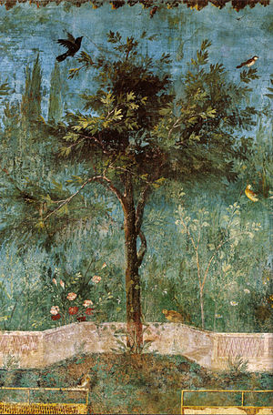 Villa of Livia - Oak tree with birds, wall painting in the underground garden