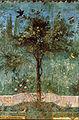 Villa di livia, affreschi di giardino, parete corta meridionale, pianta con uccelli.jpg