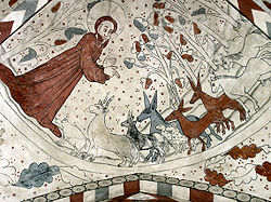 Vittskövle-fresco-Gud skaber dyrene