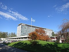 WHO HQ main building, Geneva from Southwest.JPG