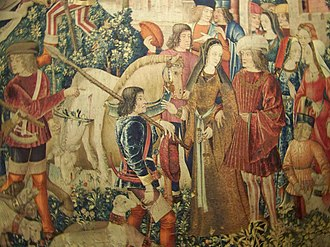 The Hunt of the Unicorn - The Unicorn is Killed and Brought to the Castle, detail