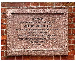 William Webb Ellis - Image of the plaque at Rugby School