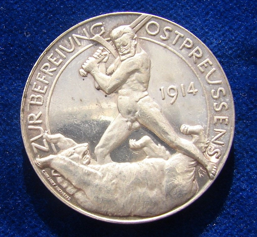 WWI German Silver Medal East Prussia 1914. Reverse