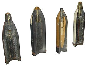 Incendiary ammunition - Some sectioned shells from the First World War. From left to right: 90 mm shrapnel shell, 120 mm pig iron incendiary shell, 77/14 model - 75 mm high-explosive shell, model 16–75 mm shrapnel shell