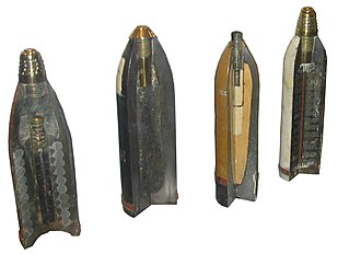 Shell (projectile) - Some sectioned shells from the First World War. From left to right: 90 mm shrapnel shell, 120 mm pig iron incendiary shell, 77/14 model - 75 mm high-explosive shell, model 16–75 mm shrapnel shell.