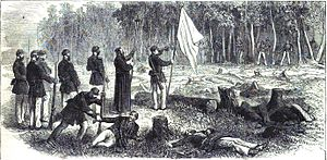 Siege of Humaitá - The Rev. Father Esmerata, chaplain of the Brazilian Squadron, exhorting the Paraguayans to surrender.