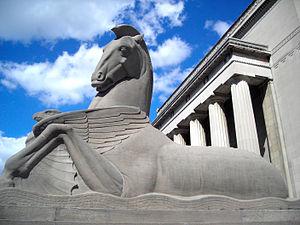 War Memorial Plaza - Limestone horse and eagle at the War Memorial building