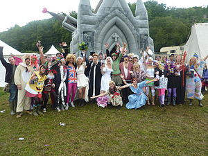 A wedding taking place at Bestival 2010, held ...