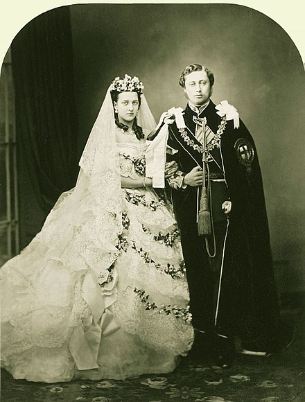 Edward and Alexandra on their wedding day, 1863 Wedding of Albert Edward Prince of Wales and Alexandra of Denmark 1863.jpg