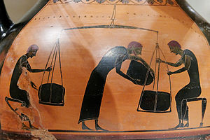 Economy of ancient Greece - Men weighing merchandise. Side B of an Attic black-figure amphora.