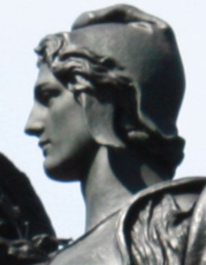 Mercury dime - Weinman's 1909 statue of Victory in Baltimore's Union Soldiers and Sailors' Monument has features said to bear a resemblance to those on the Mercury dime.