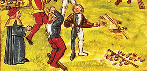 Long jump - Standing long jump, detail of a page from the Luzerner Chronik of 1513.