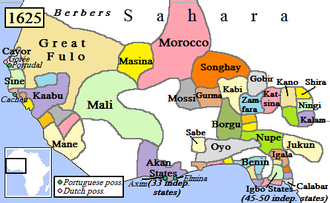 Nigerian traditional rulers - West Africa in 1625 showing the main states at that time. Modern Nigeria covers the eastern part of this area, including Oyo, the Benin Empire (unrelated to current Republic of Benin), the Igbo states to the east, and the Hausa / Fulani states such as Katsina and Kano to the north.