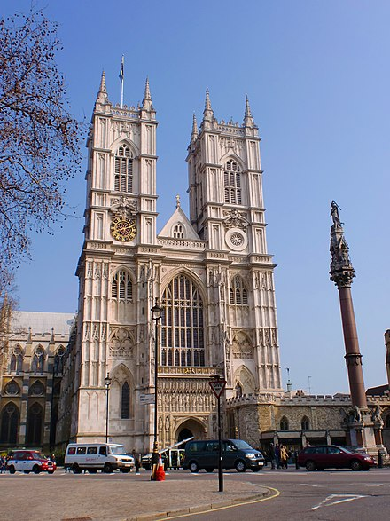 Westminster Abbey has been the traditional location for coronations since 1066 Westminster-Abbey.JPG