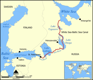 White Sea–Baltic Canal - A map of the White Sea–Baltic Waterway, including the Neva and Svir Rivers and the canal