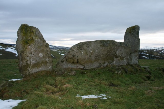 Whitebrow stone circle viewed from the sou'west - geograph.org.uk - 1709042