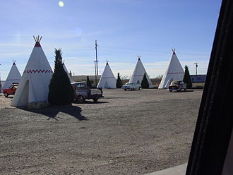 Holbrook, Arizona - At the Wigwam Motel along U.S. Route 66, visitors can sleep in a teepee.