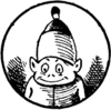 Small, smiling humanoid with pointed ears and a huge bell-shaped cap
