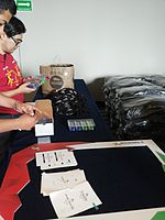 Wikimania 2015-Tuesday-Attendee cards.jpg