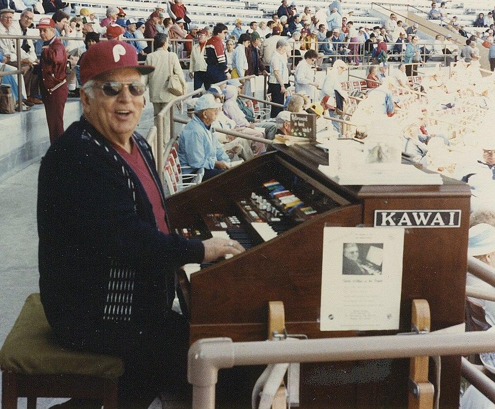 Wilbur Snapp, organist 1985, Jack Russell Stadium, Clearwater, FL