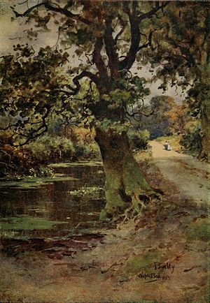 Wilfrid Ball - A Path in the New Forest, watercolor.