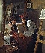 Wilhelm Bendz - En ung kunstner betragter en skitse i et spejl (1826).jpg