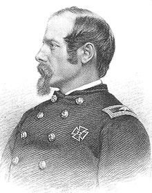 A sketch depicting a head-and-shoulders portrait of a high-ranking United States army officer of the Civil War era.  His face is in profile. He has a receding hairline, a mustache and a goatee.