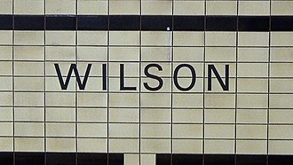 Toronto Subway (typeface) - The original Univers 55 font is still present on the tiled sections of the walls at Wilson station.
