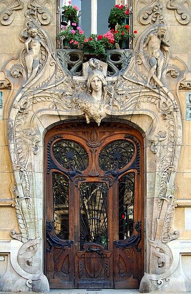 From Discovering authentic Paris: Door of the Art Nouveau Building from the architect Jules Lavirotte, 29 avenue Rapp, Paris 7th district, France