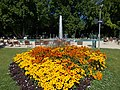 Yellow-orange triangle and the Musical fountain on Margaret Island. - Budapest, Hungary.JPG