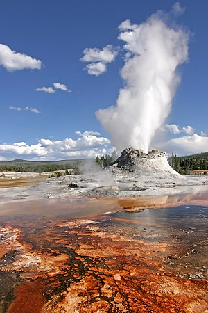 Castle Geyser during an eruption. Yellowstone ...